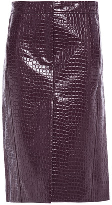 Tibi Glossed Croc-effect Faux Leather Skirt