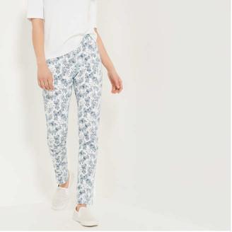 Joe Fresh Women's Print Slim-Fit Jeans, White (Size 25)