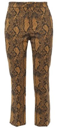 Joie Marcena B Cropped Cotton-blend Snake-jacquard Slim-leg Pants