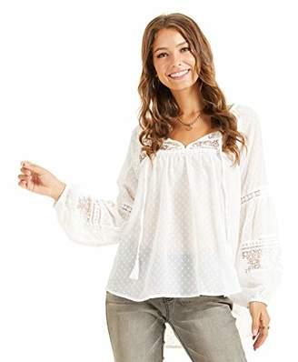 SONJA BETRO Women's Chiffon Swiss Dot Sheer Lace Inset Tie Neck Long Balloon Sleeve Tunic Blouse Top Fashion Bohemian White