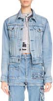Balenciaga Button-Front Light-Wash Denim Jacket