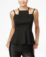 Material Girl Juniors' Strappy Pinstriped Peplum Top, Only at Macy's