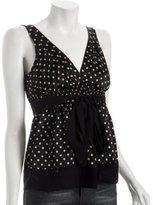 black polka dot silk v-neck top