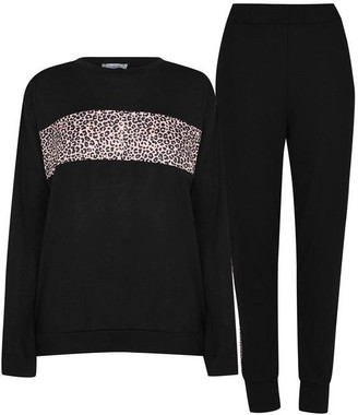Linea Animal Print Top and Joggers Tracksuit Loungewear Co Ord Set