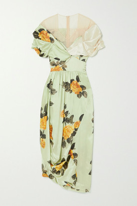 Simone Rocha Asymmetric Bow-detailed Floral-print Silk-satin And Tulle Dress - Green