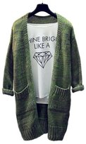 ARJOSA Women's Cable Knit Pockets Long Sleeve Open Front Cardigan Casual Sweater ( Green)
