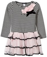 Kate Mack - Biscotti Stripe Jersey Dress with Pink Tulle Skirt