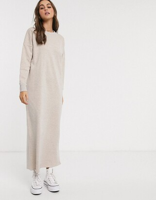 Asos Design DESIGN oversized sweat maxi dress in oatmeal-Beige
