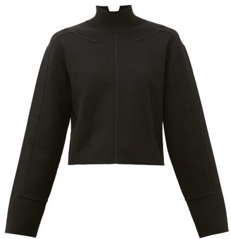 Proenza Schouler Raised-seam Mock-neck Jersey Cropped Sweater - Black