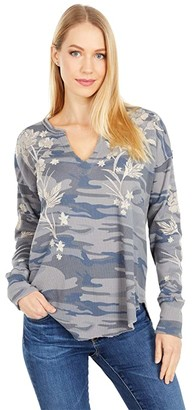 Johnny Was Fleurie V-Neck Thermal (Amethyst Camo) Women's Clothing