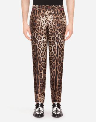 Dolce & Gabbana Silk Mikado Pants With Leopard Print