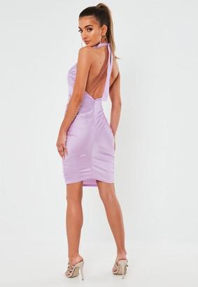 Missguided Lilac Stretch Satin Halterneck Mini Dress