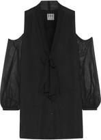 Haute Hippie Vida cold-shoulder silk-chiffon mini dress