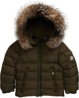 Moncler Byron Water Resistant Down Hooded Puffer Jacket with Genuine Fox Fur Trim