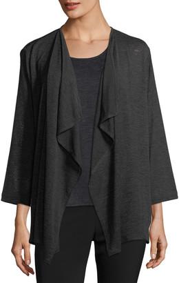 Caroline Rose Petite Gauze Knit Draped Jacket