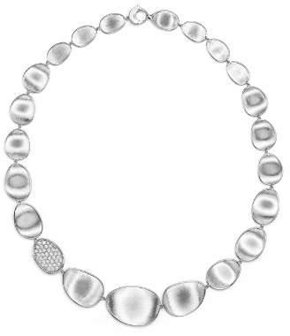 "Marco Bicego 18K White Gold Lunaria Diamond Collar Necklace, 16.5"""