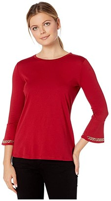 MICHAEL Michael Kors Embroidered Chain 3/4 Sleeve Top (Black) Women's Clothing