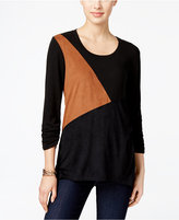 Style&Co. Style & Co. Colorblocked Knit Top, Only at Macy's