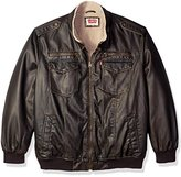 Levi's Men's Big Vintage Deer Faux Leather Aviator Bomber with Full Sherpa Lining