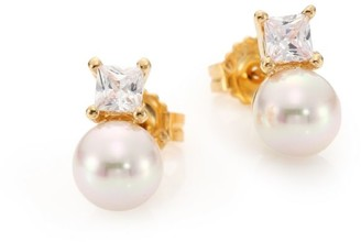 Majorica 8MM White Round Pearl & Crystal Stud Earrings