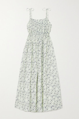 Apiece Apart Cecile Shirred Floral-print Organic Cotton Maxi Dress - Off-white