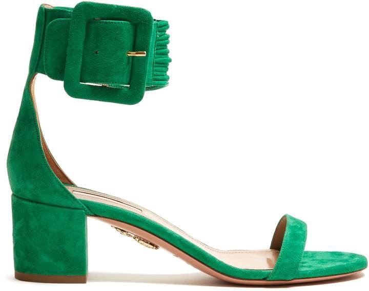 Aquazzura Casablanca 55 block-heel suede sandals