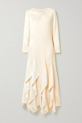 By Malene Birger Ebonee Twist-front Ruffled Paneled Crinkled-satin And Crepe Dress - Cream