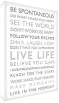 Feel Good Art Gallery Wrapped Box Canvas with Solid Front Panel (40 x 30 x 4 cm, White/Grey, Live Life from the Inspiration Collection)