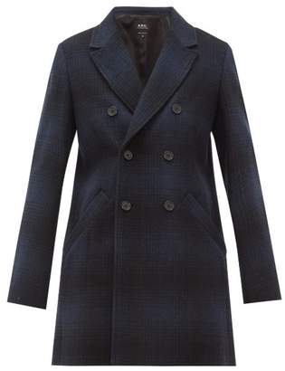 A.P.C. Joan Checked Wool-blend Double-breasted Coat - Womens - Navy