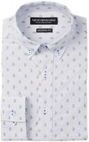 Nick Graham Paisley Dot Modern Fit Long Sleeve Dress Shirt