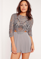Missguided Crochet Lace Cut Out Romper Grey