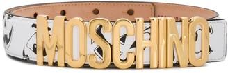 Moschino Face-Print Logo-Buckle Belt
