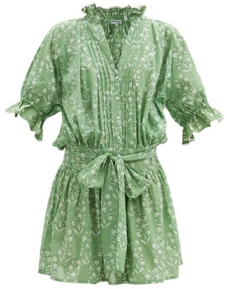Juliet Dunn Ruffled Floral-print Cotton Blouson Dress - Green White