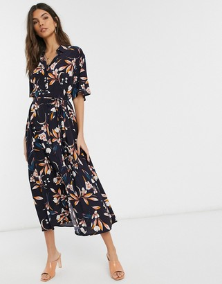 French Connection button through floral midi shirt dress in blue multi