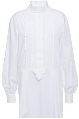 Alberta Ferretti Scalloped Pintucked Cotton-blend Poplin Shirt