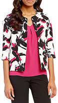 Kasper Brushed Floral Open-Front Jacket