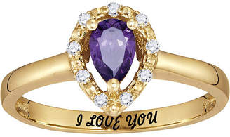 FINE JEWELRY Personalized Simulated Birthstone & Cubic Zirconia Halo Ring