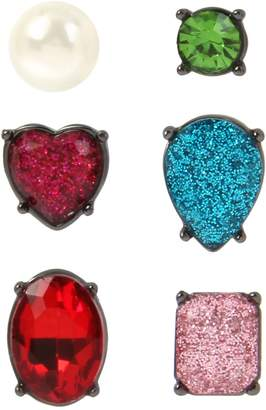 Betsey Johnson 3-Pair Faux Pearl Rainbow Crystal Stud Earrings
