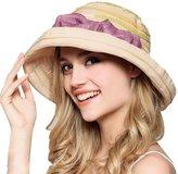Yimidear Elegant Women Bow Sunhat Summer Beach Hat Bucket Hats Fisherman caps Foldable Sunhat