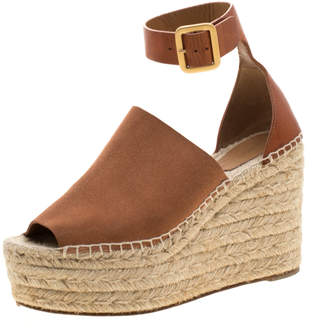 Chloé Brown Suede Leather Espadrille Ankle Strap Wedge Platform Sandals Size 38