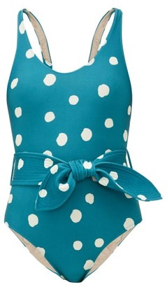 Adriana Degreas Belted Aloe Pois-print Swimsuit - Womens - Blue Print