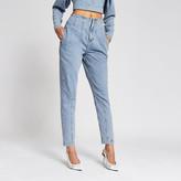 River Island Light blue seam waist barrel leg jeans