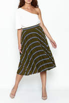 English Factory Striped Green Pleated Skirt
