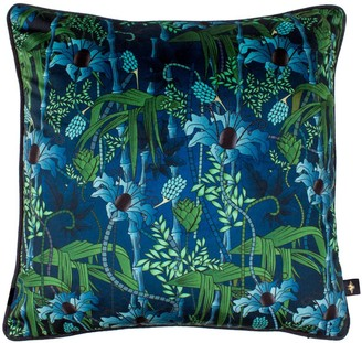 The Curious Department Electric Lagoon Blue Velvet Cushion