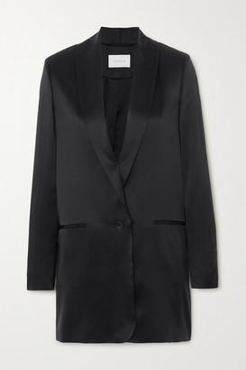 LA COLLECTION Amandine Silk-satin Blazer - Black