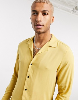 ASOS DESIGN regular fit viscose shirt with revere collar in mustard