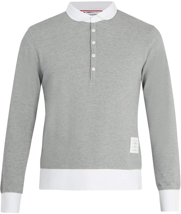 Thom Browne Long-sleeved cotton-piqué polo shirt