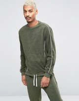 Asos Towelling Sweatshirt With Contrast Piping In Khaki