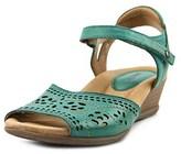Earth Ibis Women Open Toe Leather Blue Wedge Heel.