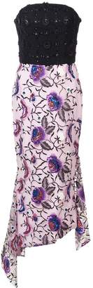 Christian Siriano embroidered floral strapless dress